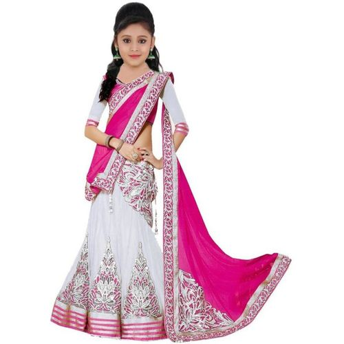 MF Retail Girls Lehenga Choli Ethnic Wear Embroidered Lehenga, Choli and Dupatta Set(Multicolor, Pack of 1)
