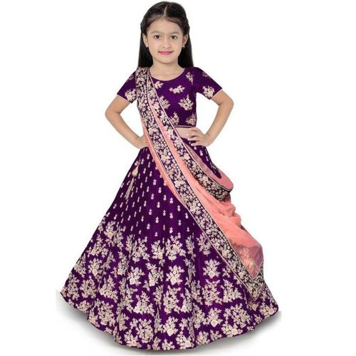 HRK FASHION Girls Lehenga Choli Ethnic Wear, Party Wear Embroidered Lehenga, Choli and Dupatta Set(Purple, Pack of 1)