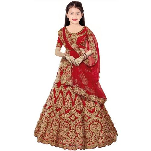 Piludi Girls Lehenga Choli Ethnic Wear Embroidered Lehenga, Choli and Dupatta Set(Red, Pack of 1)