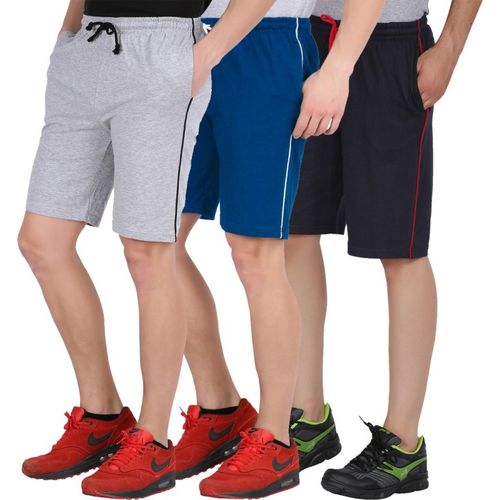 Checkersbay Short For Boys & Girls Casual Solid Cotton Blend(Multicolor, Pack of 3)