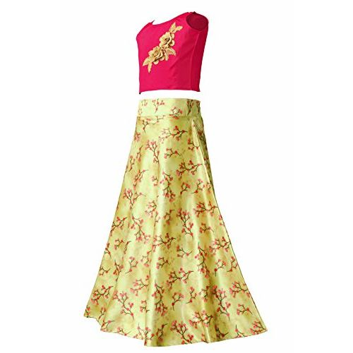 Fashion Dream Girls' Satin Lehenga Choli (NAZARA Lehenga Choli_Pink_2-3 Years)