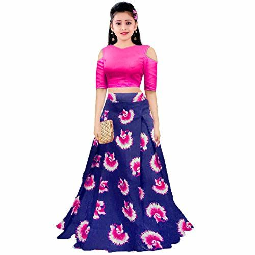 Leons Fab Girl's Multicolour Satin Digital Printed Lehenga Choli (Mix_FreeSize 10-15) (Pink)