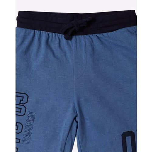 KB TEAM SPIRIT Numeric Print Shorts with Contrast Elasticated Drawstring Waist