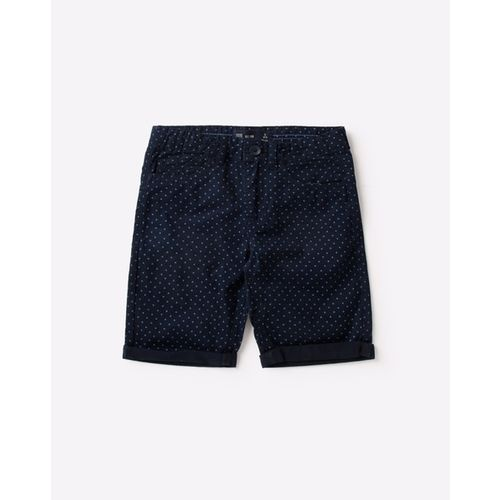 YB DNMX Micro Print Slim Fit Shorts with Upturned Hems