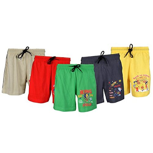 Sathiyas Boy's Regular Fit Multicolor Cotton Shorts - Pack of 5 (IC282) (14-15 Years)
