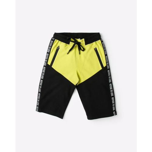 YB DNMX Cut & Sew Shorts with Contrast Typographic Print Side Taping