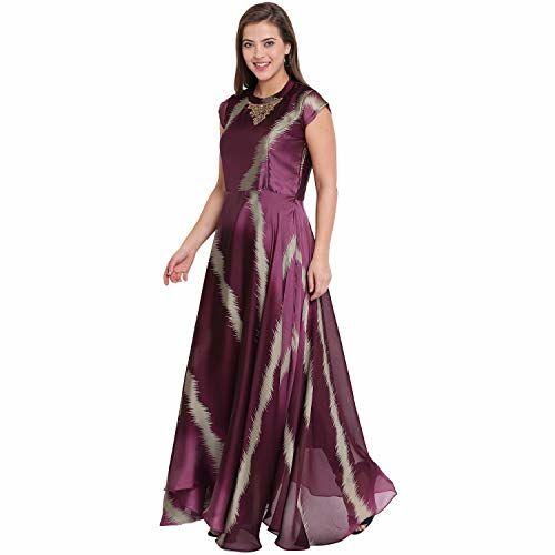 Kvsfab Wine & Green Color Georgette Flared Dress[KVSKR1137MRLI_M]