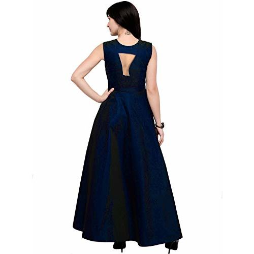 Jsv fashion Women's Tafeta Satin Anarkali Style Dress (RoyalBlue)