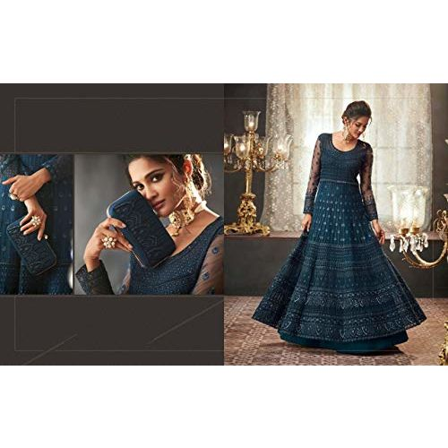 Fancy Lifestyle Net Embroidered Semi-Stitched Gown