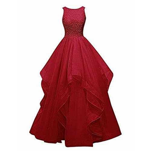 TILISM Soft Net Fabric Floor Length Red Gown for Women(Size-L)