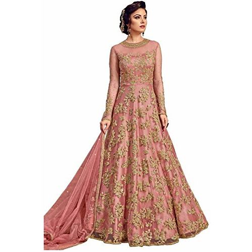 Shiv Enterprise Womens Nylon Net Embroidered anarkali Semi Stitched Salwar Suit/Gown