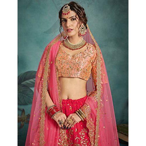 MEGHALYA Womens Sequins Embroidered Semi-stitched Art-Silk Lehenga Choli with Double Dupatta Set(Pink; Cinderella 2303)