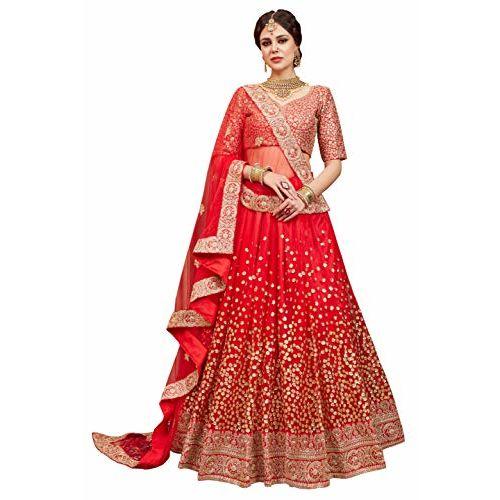 MEGHALYA Women's Net Lehenga Choli (Wedding Special Lehenga FLORAL2002_Red_Free Size)