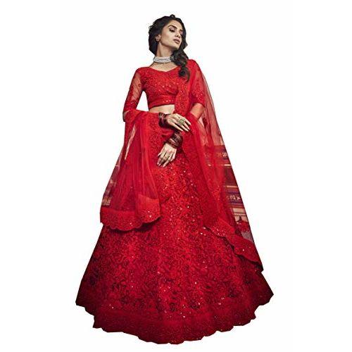 MEGHALYA Women's Soft Net lehenga choli(Red; Free Size; VASTREY 3505)