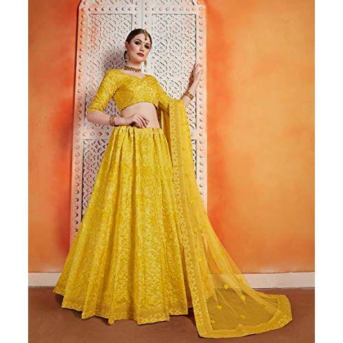 MEGHALYA Women's Engaging featuring Semi Stitched Art Silk Heavy Embroidered Lehenga Choli(Yellow; Free Size; Floral 2402)
