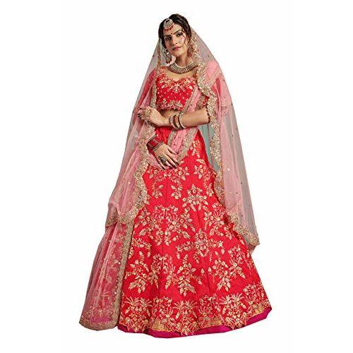 MEGHALYA Womens Sequins Embroidered Semi-stitched Art-Silk Lehenga Choli with Double Dupatta(Red; Cinderella 2302)
