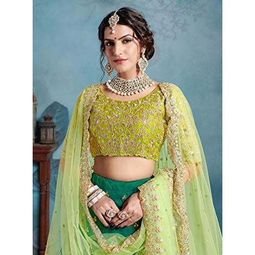 MEGHALYA Womens Sequins Embroidered Semi-stitched Art Silk Lehenga Choli with Double Dupatta Set(Green; Cinderella 2308)