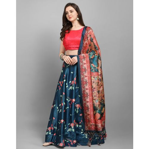 Saara Blue Silk Digital Floral Print Semi Stitched Lehenga Choli