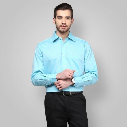 Buy LOUIS PHILIPPE Sky Blue Cotton Solid Formal Shirt ... Louis Philippe Formal Shirts