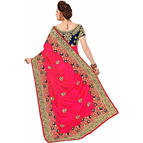 Nivah Fashion Women's Silk Blend Saree With Unstitched Blouse (NH.K776-Pink_Pink)