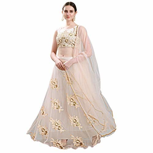 Ethnic Empire Women's Net Peach Semi-Stitched Lehenga Choli With Can Can