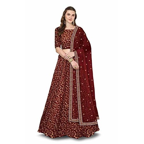 Diva N Diya Women's Silk Embroidered Lehenga Choli (Maroon, Free Size)