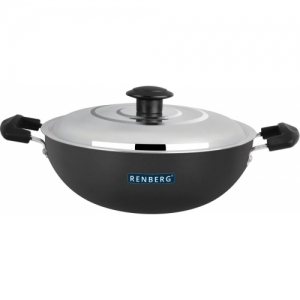 Renberg Hard Anodised with Stainless steel Lid Kadhai 24 cm with Lid(Hard Anodised)