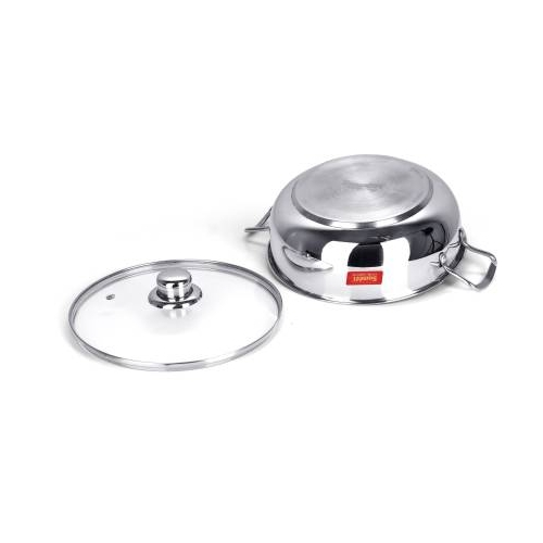 Sumeet Stainless Steel Induction Bottom (3 LTR) Kadhai 25.2 cm with Lid(Stainless Steel, Induction Bottom)