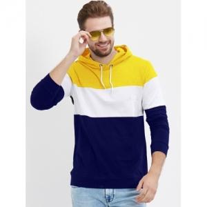 LEWEL Color Block multicolor Cotton Hooded Neck T-Shirt