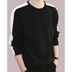 FastColors White & Black Cotton Round Neck T-Shirt