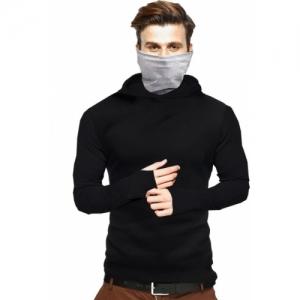 Tripr Black Cotton Solid Hooded Neck T-Shirt