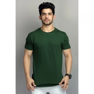 BELTLY Green Cotton Solid Round Neck T-Shirt
