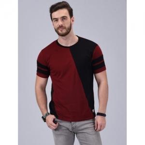 Wrath Color Block Maroon & Black Cotton Round Neck T-Shirt