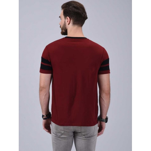 Wrath Color Block Maroon & Black Cotton Round Neck T-Shirt