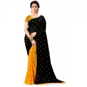 Anand Sarees Black & yellow Polka Print Daily Wear Georgette Saree