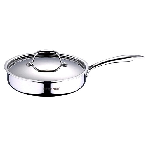 Bergner Argent Triply Stainless Steel Sautepan with Stainless Steel Lid, 22 cm, Induction Base, Silver