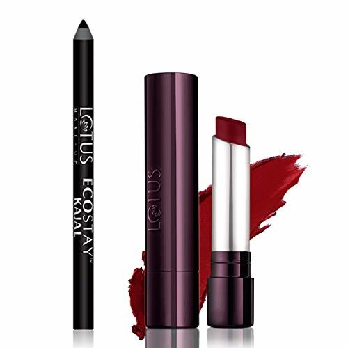 Lotus Herbals Ecostay Kajal, 1.2g And Lotus Makeup Proedit Silk Touch Matte Lip Color, Rising Red, Red, 4 g