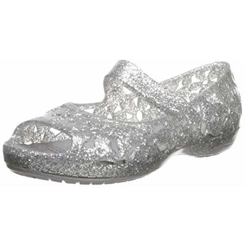 crocs Girl's Silver Fashion Sandals-C7 (205461-040) (7 US)