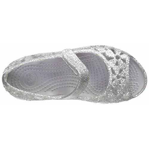 crocs Girl's Silver Fashion Sandals-C7 (205461-040) (7 US)
