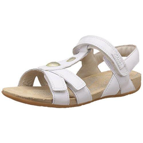 Clarks Girl's White Leather Fashion Sandals - 4 Kids UK/India (20 EU)