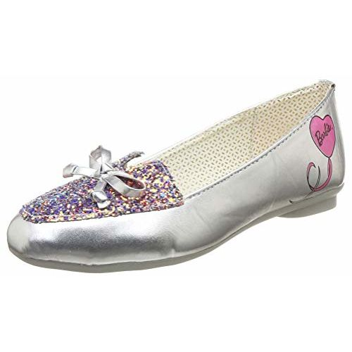 Barbie Girl's Ballet Flats-11 Kids UK/India (30 EU) (BBPGBE2094,Silver)
