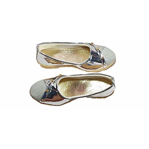 FOOTONREST Latest Collection, Comfortable & Fashionable Bellies for Kids and Girls 1 Year to 10 Year Silver