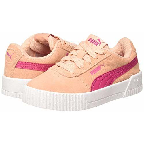 Puma Girl's Carina Ps Peach Parfait-Beetroot Purple Leather Sneakers-10 UK (28 EU) (11 Kids US) (37053302)