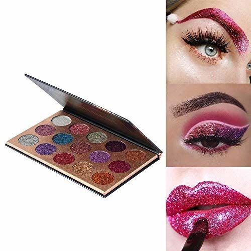 Beauty Glzaed 15 Colors Glitter Make-up Powder Metallic Shimmer Eye Shadow Palette Highly Pigmented Mineral Cosmetic Makeup Set