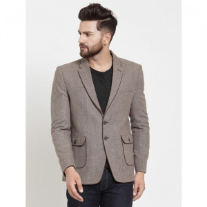 Monteil & Munero brown wool & polyester blend single breasted casual blazer