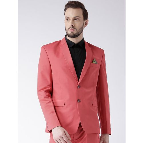 Hang Up red solid single breasted casual blazer
