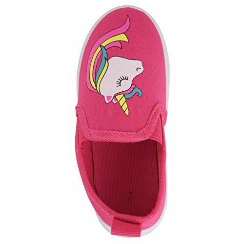 Yellow Bee Unicorn Canvas Shoes for Girls, Dark Pink, 9C, 3.5-4 Years