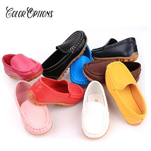 Femizee Toddler Boys Girls Loafers Shoes Casual Moccasin Slip On Dress Wedding Shoes for Kids,Brown,1301 CN 28