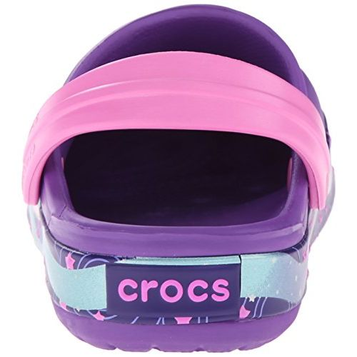 crocs Girl's Crocband Galactic Clog Neon Purple Rubber Clogs and Mules - C10C11