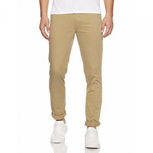 John Players ITC Men's Chino Casual Trousers (JCMWTRS190031007_Dark Tan_38W x 34L)